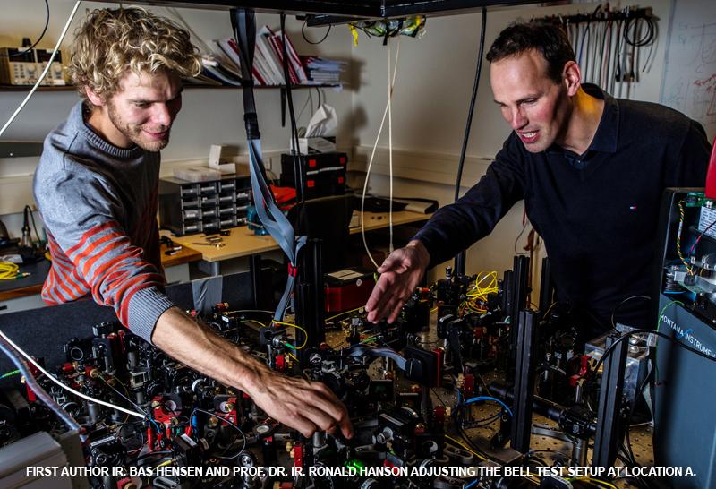 Бас Хенсен и Рональд Хэнсон устанавливают оборудование для эксперимента по проверке неравенств Белла