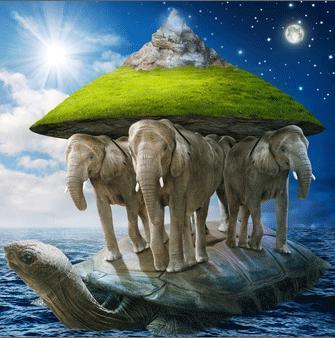 Одна из первых версий строения мира — плоская земля, которая покоится на трех китах и черепахе