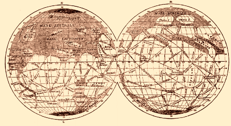 Карта Марса Джованни Скиапарелли