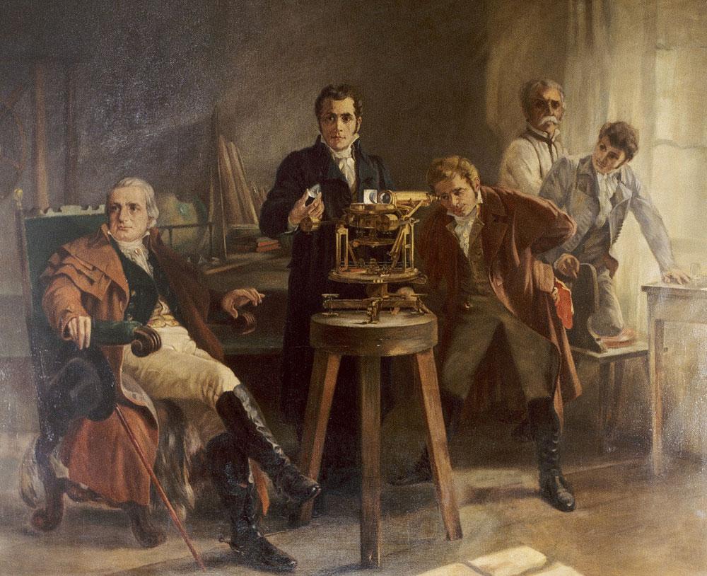 Фраунгофер показывает спектрометр. Картина 1900 года