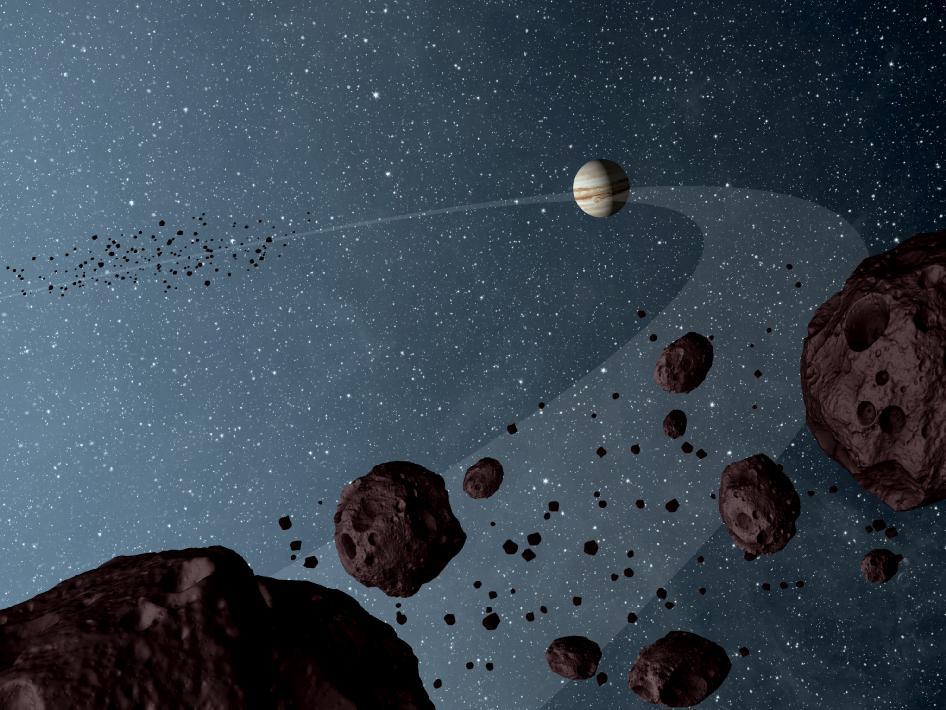 Троянские астероиды Юпитера в представлении художника