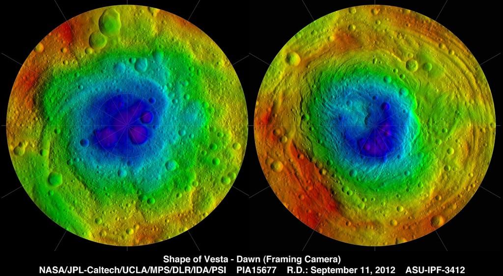 Топографическое карта астероида Весты
