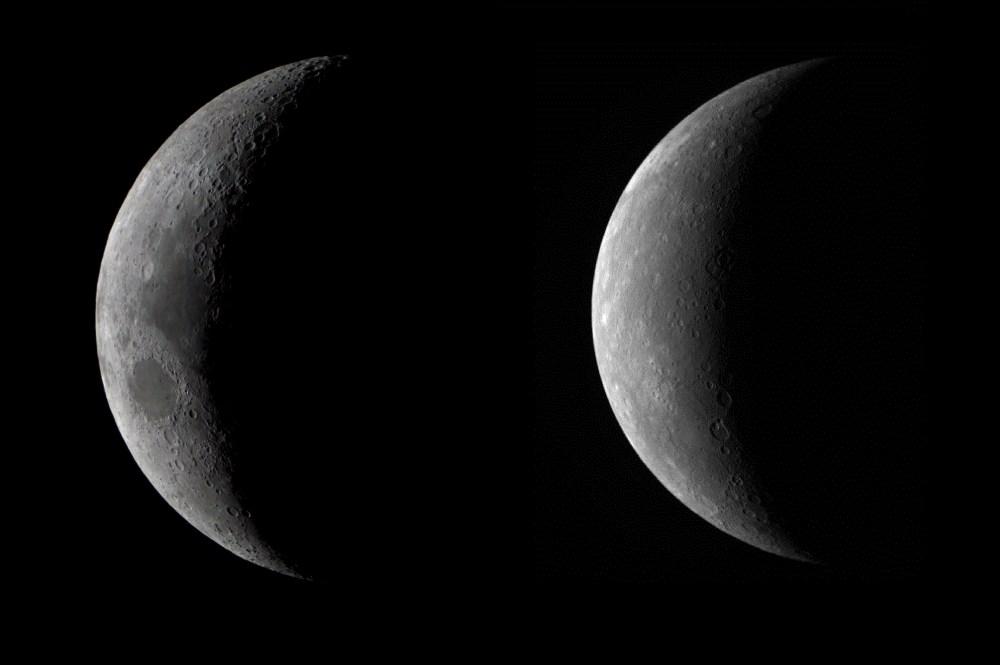 Сравнение Луны и Меркурия