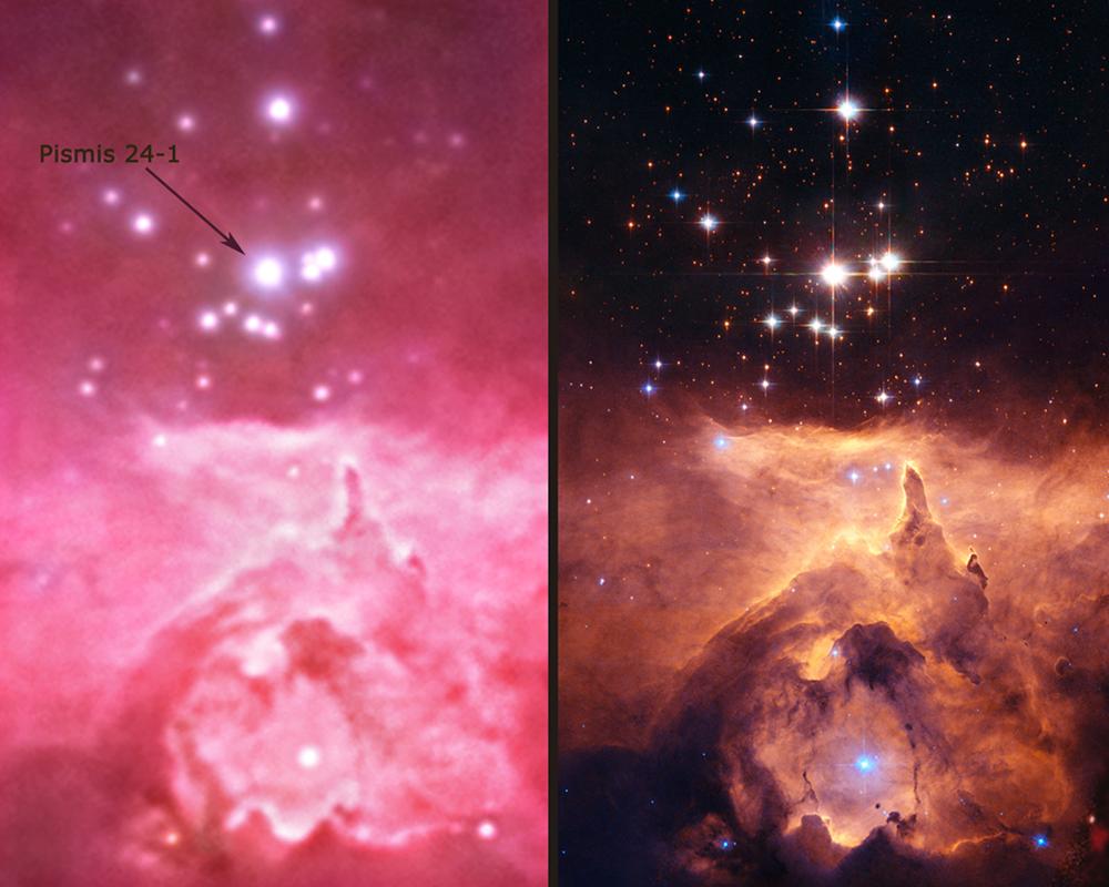 Сравнительный снимок Pismis 24-1