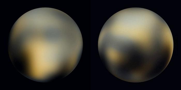 Плутон, имеет темные и светлые области.