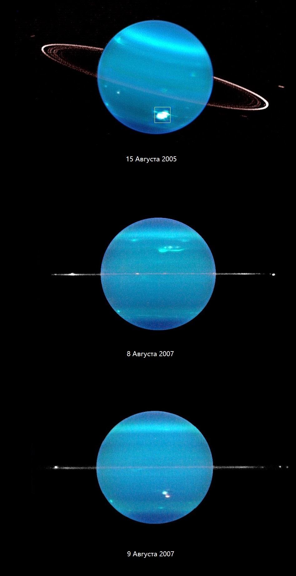 Положение колец Урана в разное время