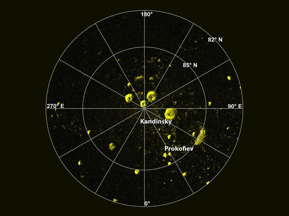 Радиолокационное изображение северной полярной области Меркурия