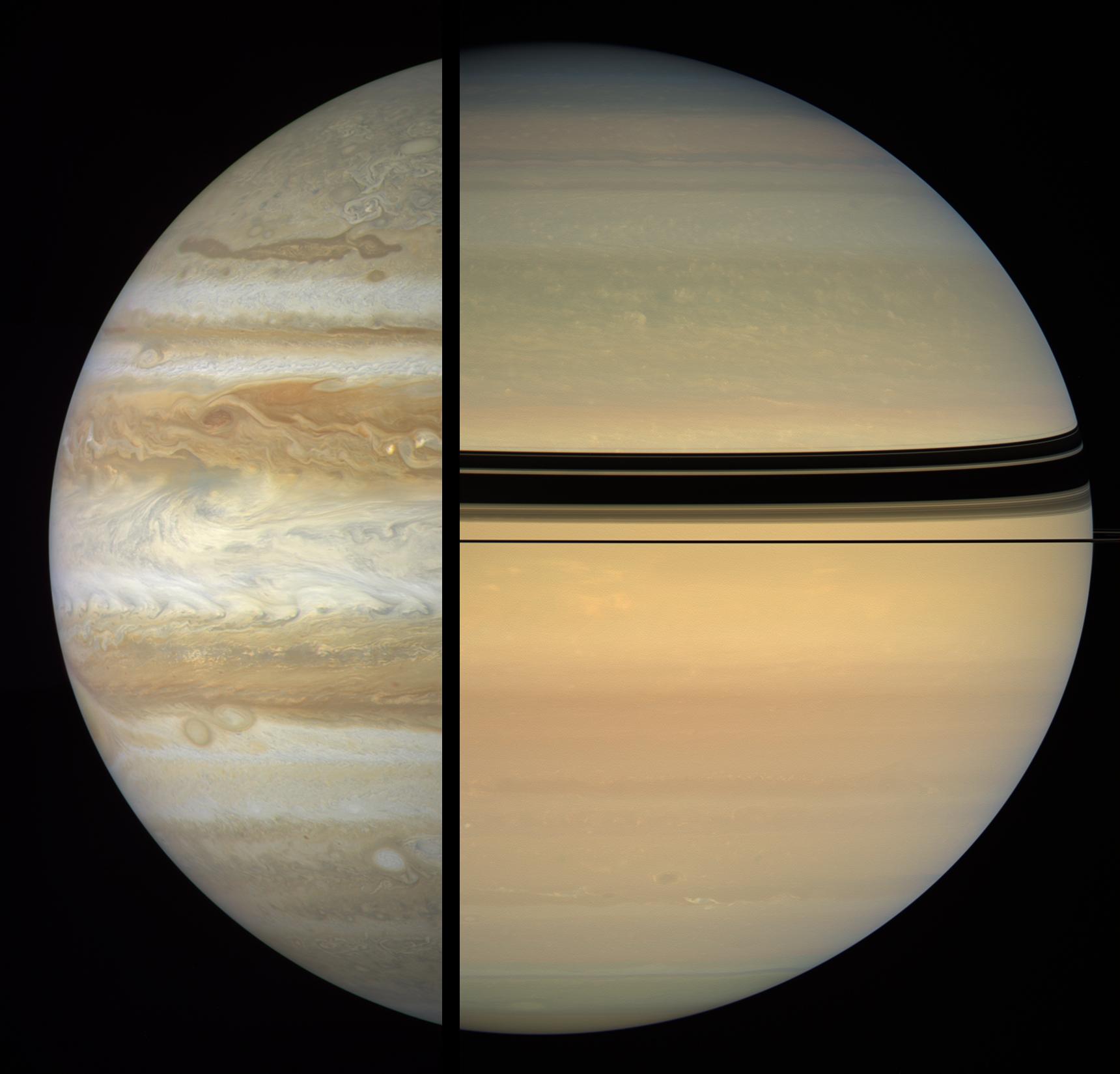 Сравнение Юпитера и Сатурна. Масштаб не соблюден.