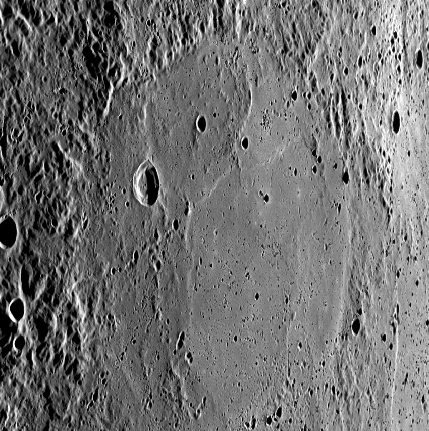 Ударный бассейн на Меркурии, шириной 250 километров, снимок космического аппарата MESSENGER