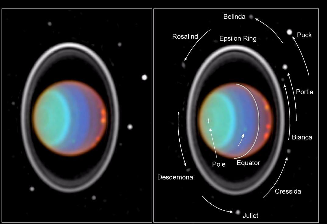 Это Уран снятый космическим телескопом Хаббл, хорошо различимы множество спутников и кольца.
