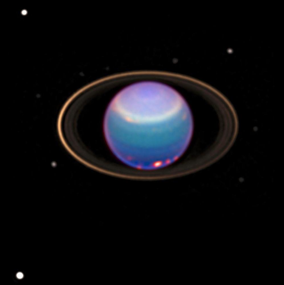 Уран, кольца и спутники в телескоп Хаббл