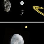 Вояджер пролетает вблизи спутников Сатурна