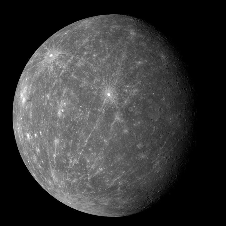 Снимок Меркурия, с космического аппарата MESSENGER