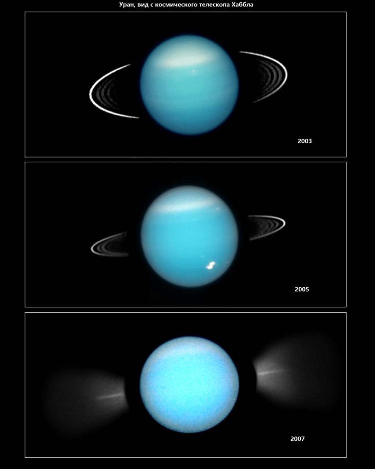 Кольца Урана, вид с космического телескопа Хаббла
