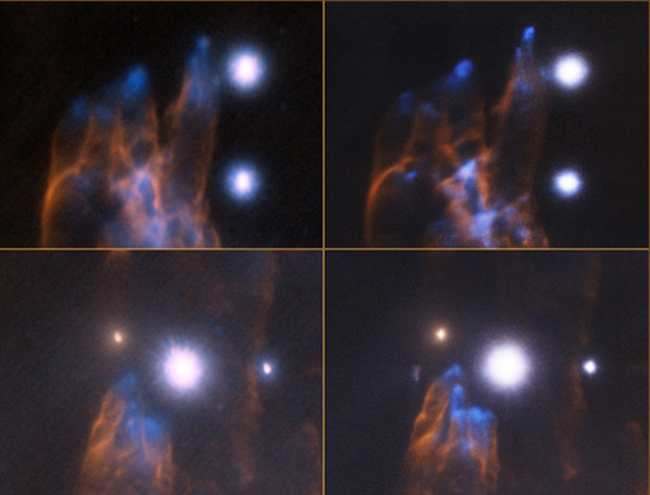 Сравнение снимков туманности Ориона