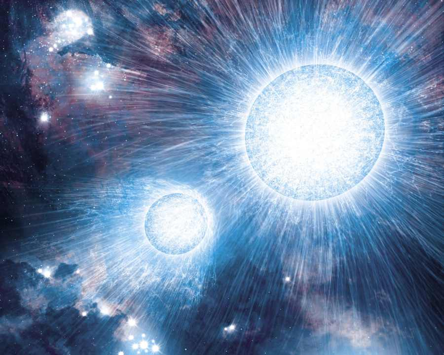 Столкновение звездных ветров в двойной звездной системе