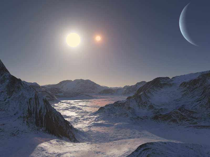 Вид с экзопланеты Kepler 47c на двойную звезду