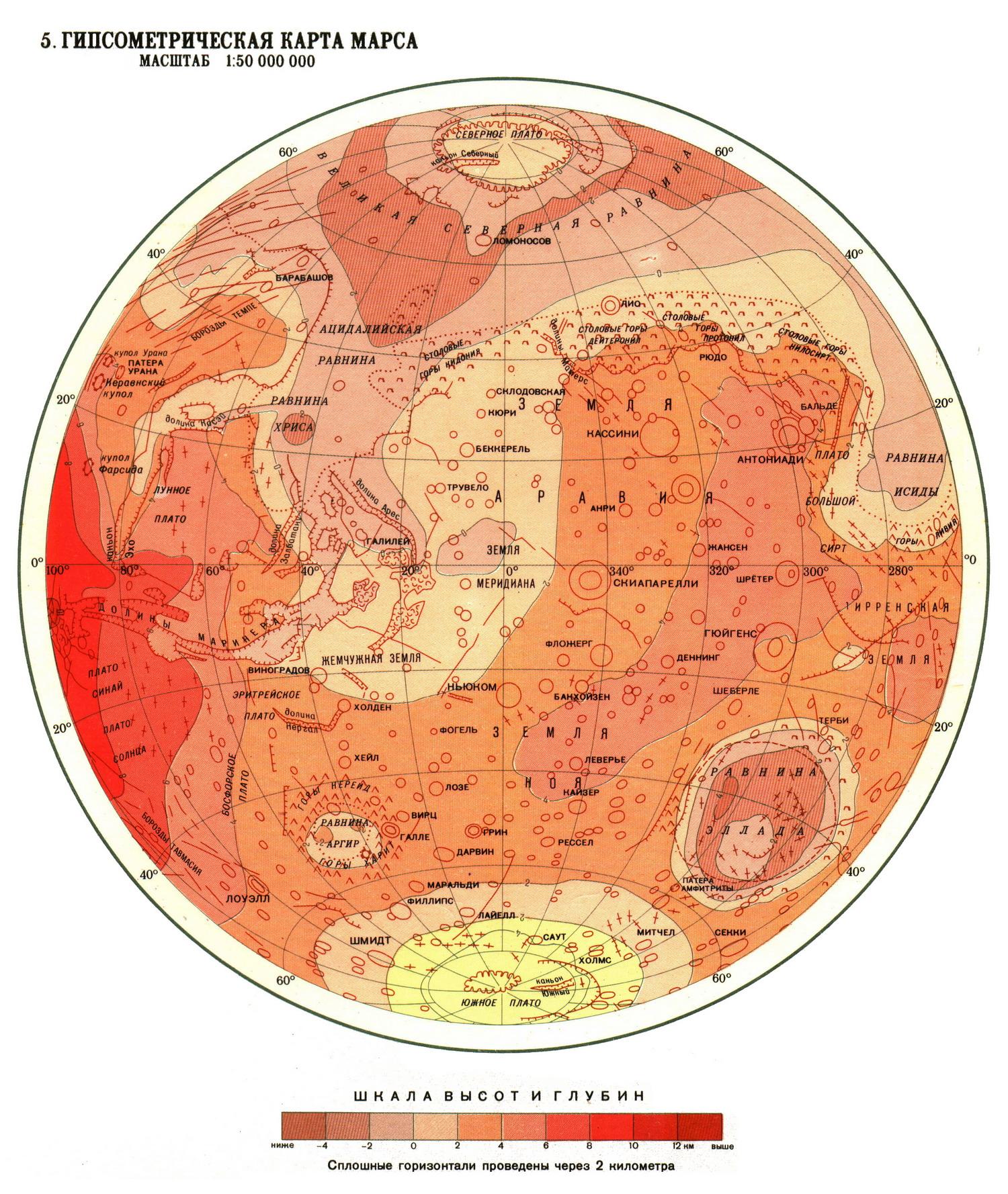 Гипсометрическая карта Марса