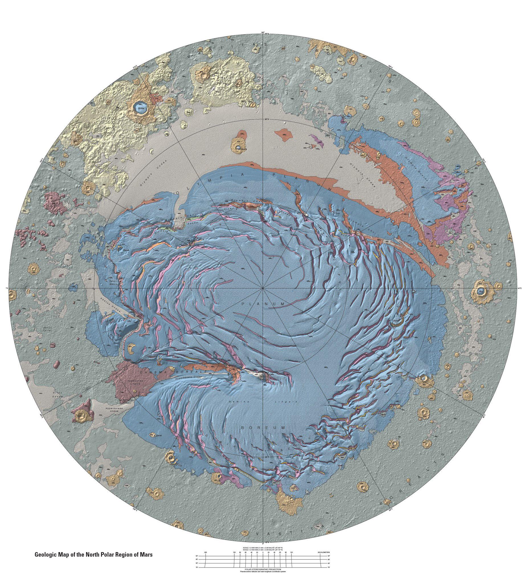 Карта Северного полюса планеты