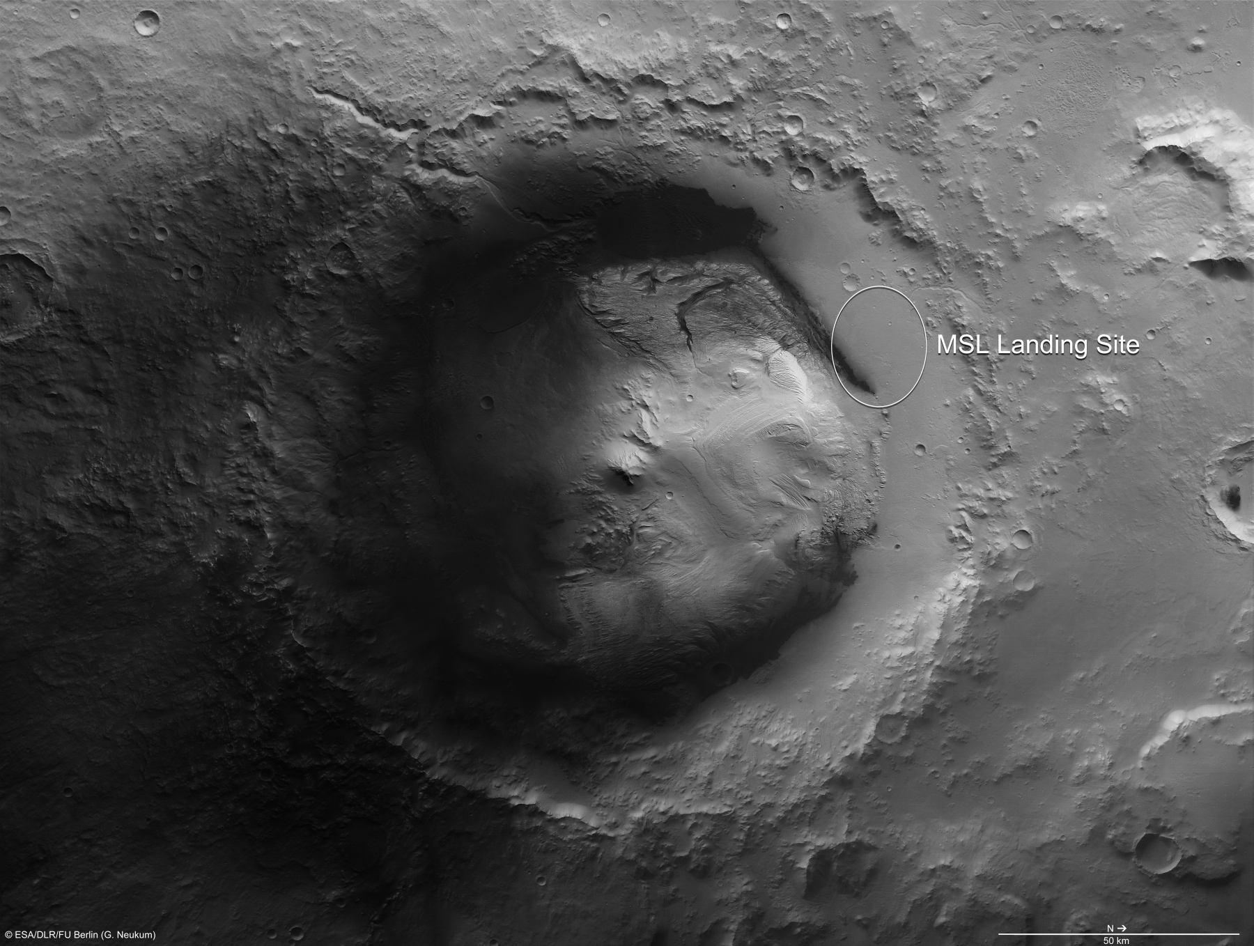 Кратер Гейла, кружком обозначено простор насаждения марсохода