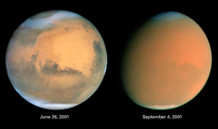 Планета во время пылевой бури, снимок космического телескопа Хаббл