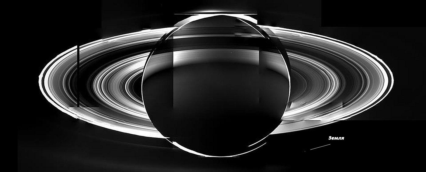 Сатурн и Земля на одном фото