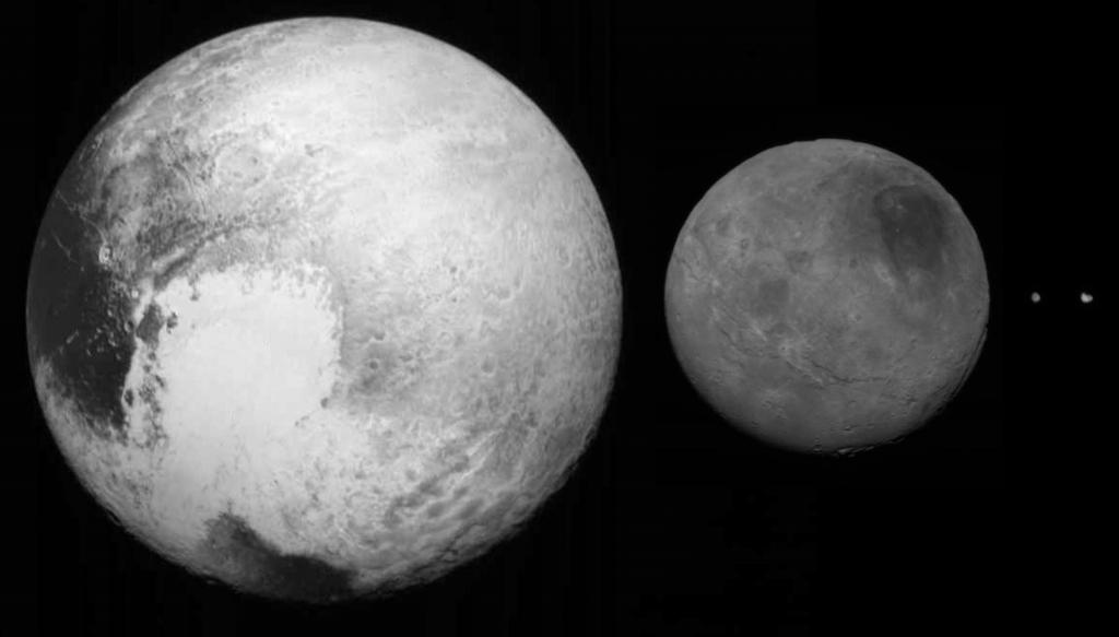 Четыре самых крупных тела в системе Плутона - Плутон, Харон, Никс и Гидра