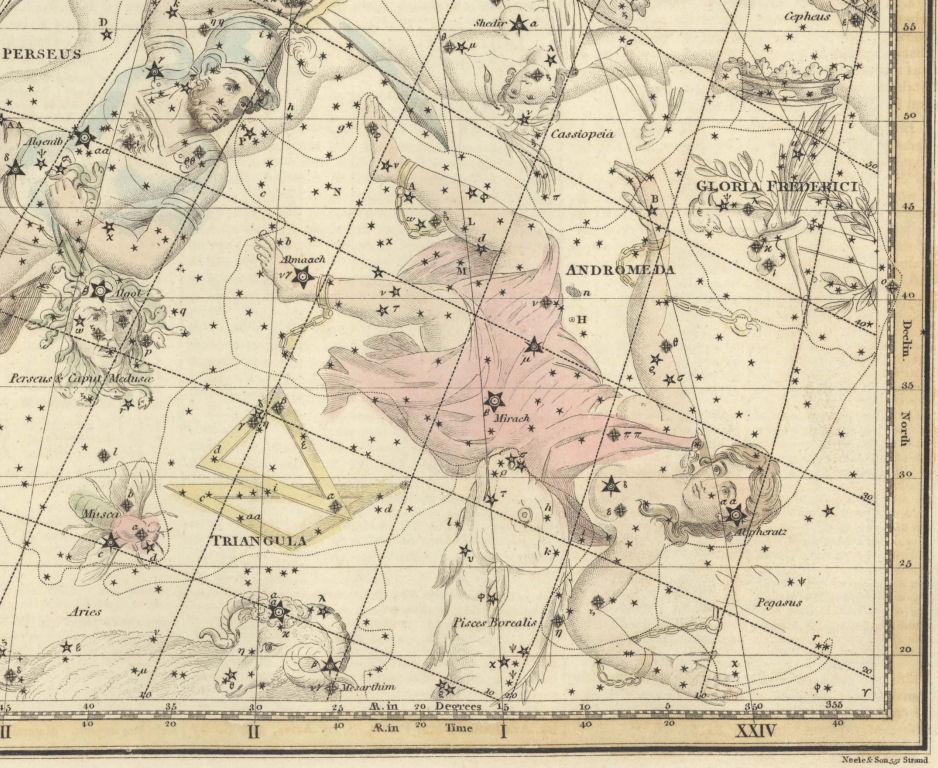 Созвездие Андромеды, рисунок из старинного атласа неба