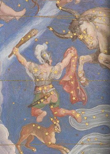Созвездие Орион, рисунок из старинного атласа неба