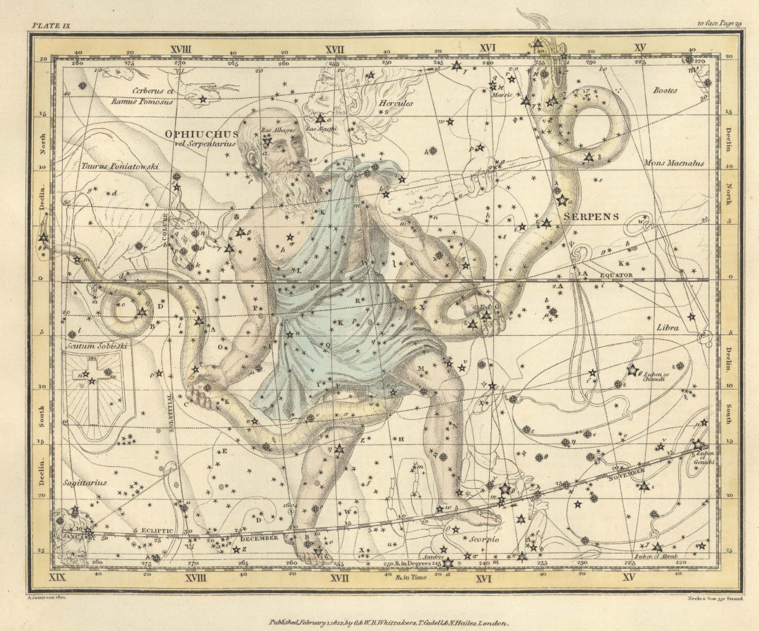 Изображение созвездия из древнего атласа неба