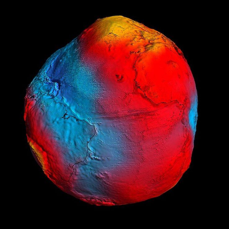 Отклонения в гравитационном поле Земли, от GOCE
