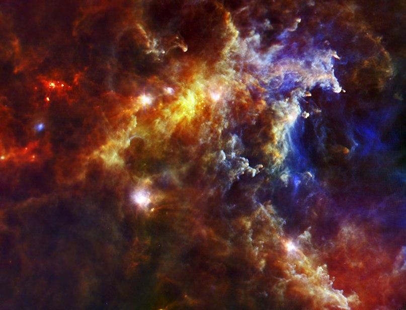 Молодые звезды в туманности Розетка