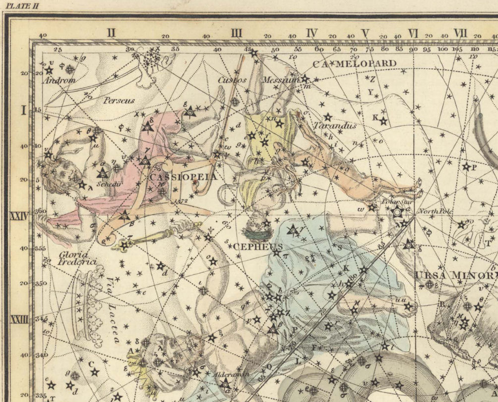 Рисунок Кассиопеи из старинного атласа звездного неба