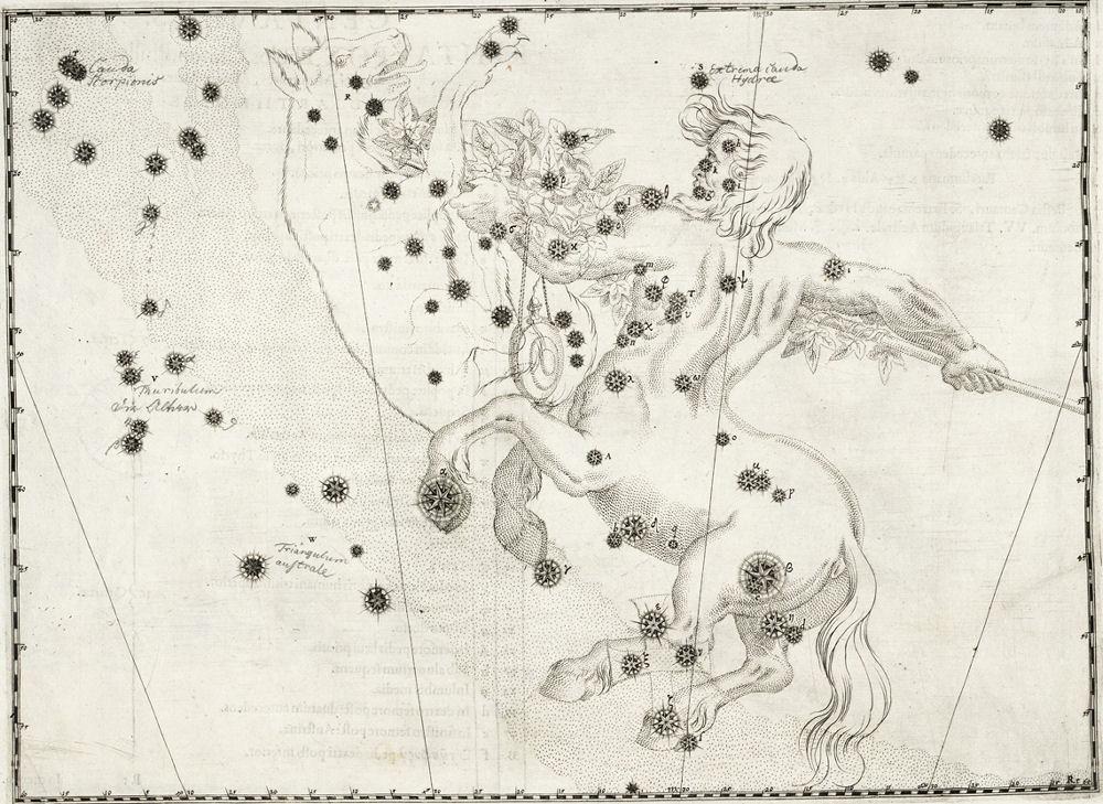 Рисунок Кентавра из старинного атласа звездного неба