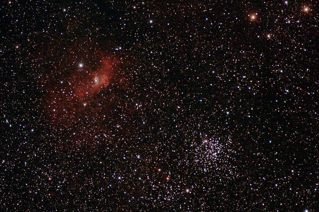 Скопление М52 и туманность Пузырь