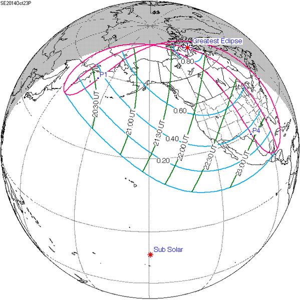Частичное солнечное затмение 23 октября 2014 года