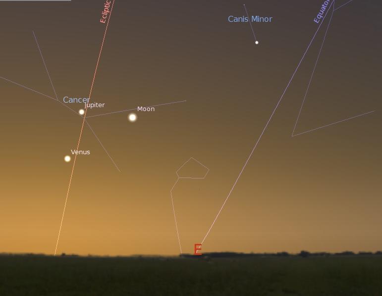 Cоединение Луны, Венеры и Юпитера утром 23 августа 2014 года