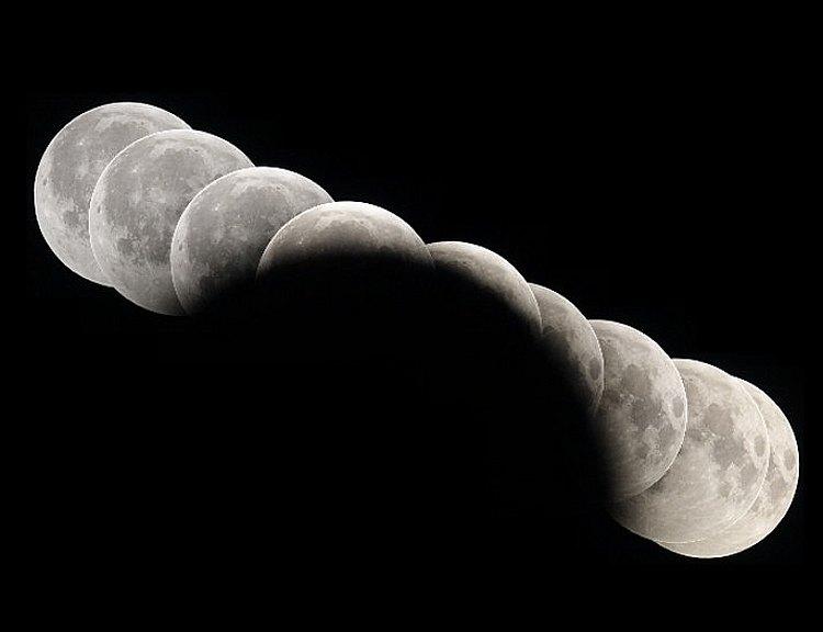 Коллаж снимков частичного Лунного затмения