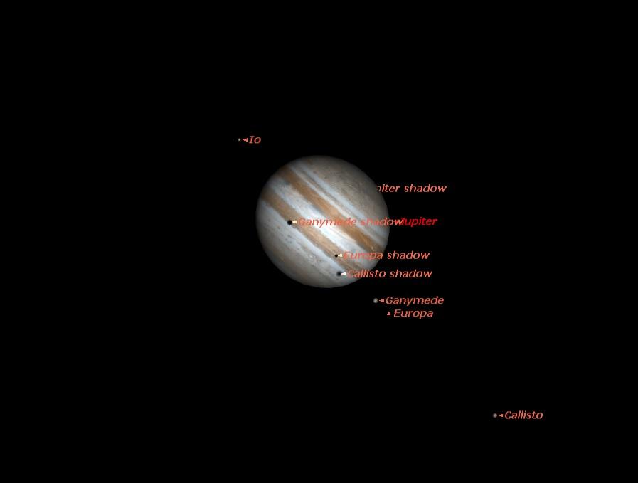 Тройной транзит теней спутников Юпитера 3 июня в 19.00 UT