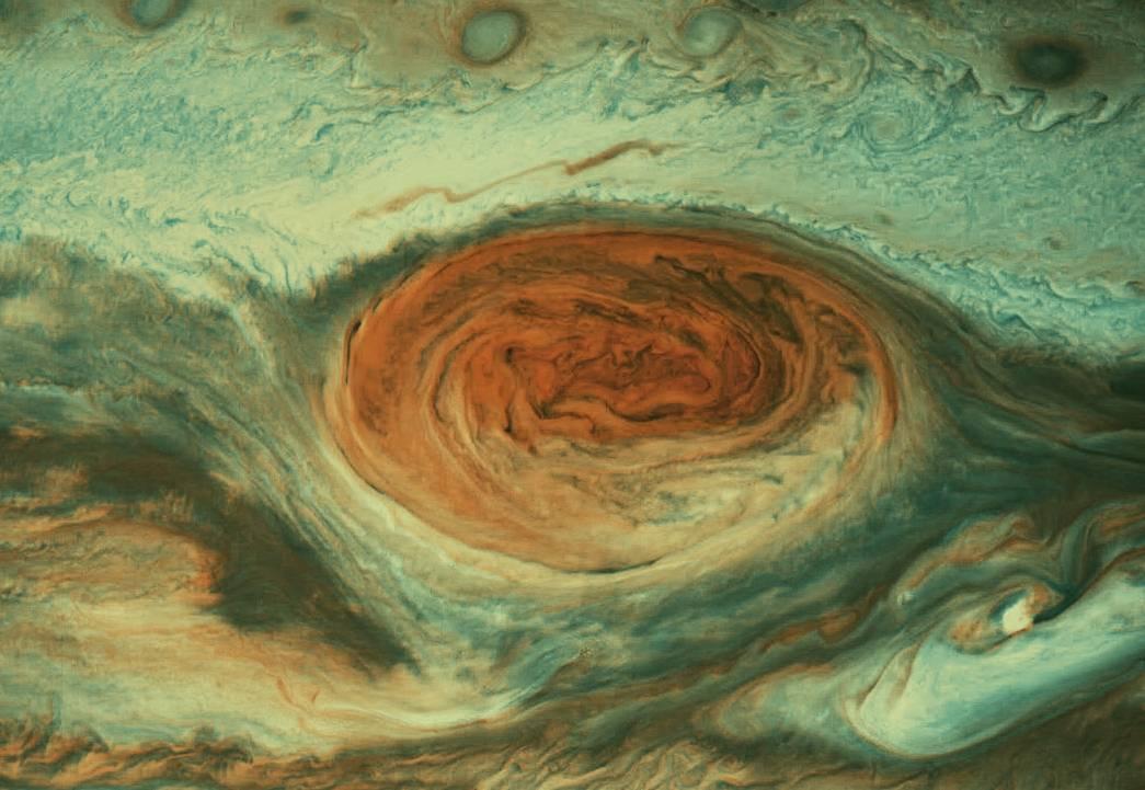 Большое красное пятно на Юпитере. Снимок композитный RBG+ИК и УФ. Обработка любительская, автор Mike Malaska.