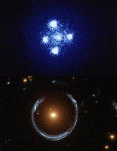 «Крест Эйнштейна» (вверху) и «Космическая подкова» (внизу)