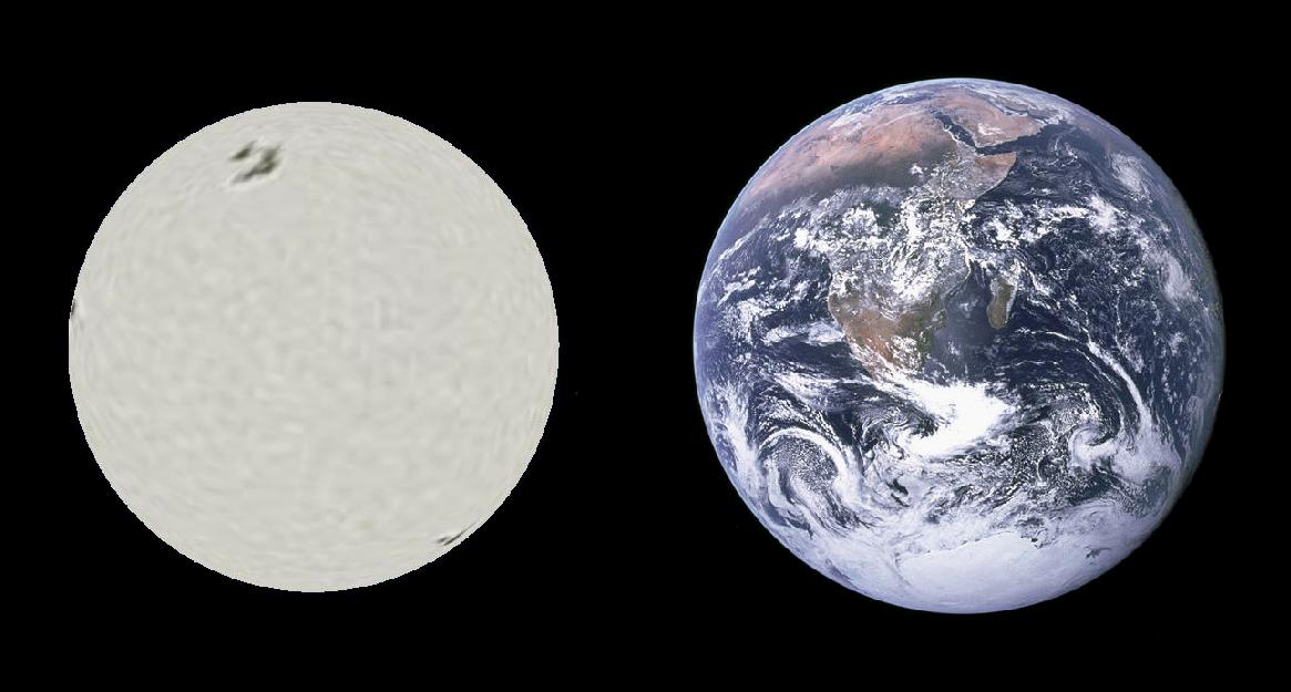 Сравнение размеров белого карлика Сириуса В и Земли