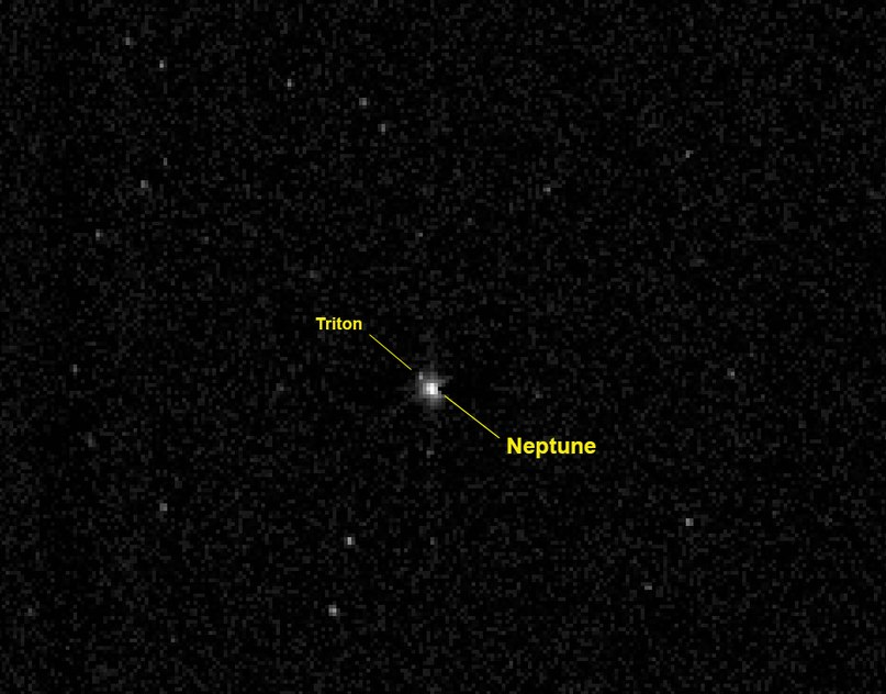 Снимок Нептуна и Тритона