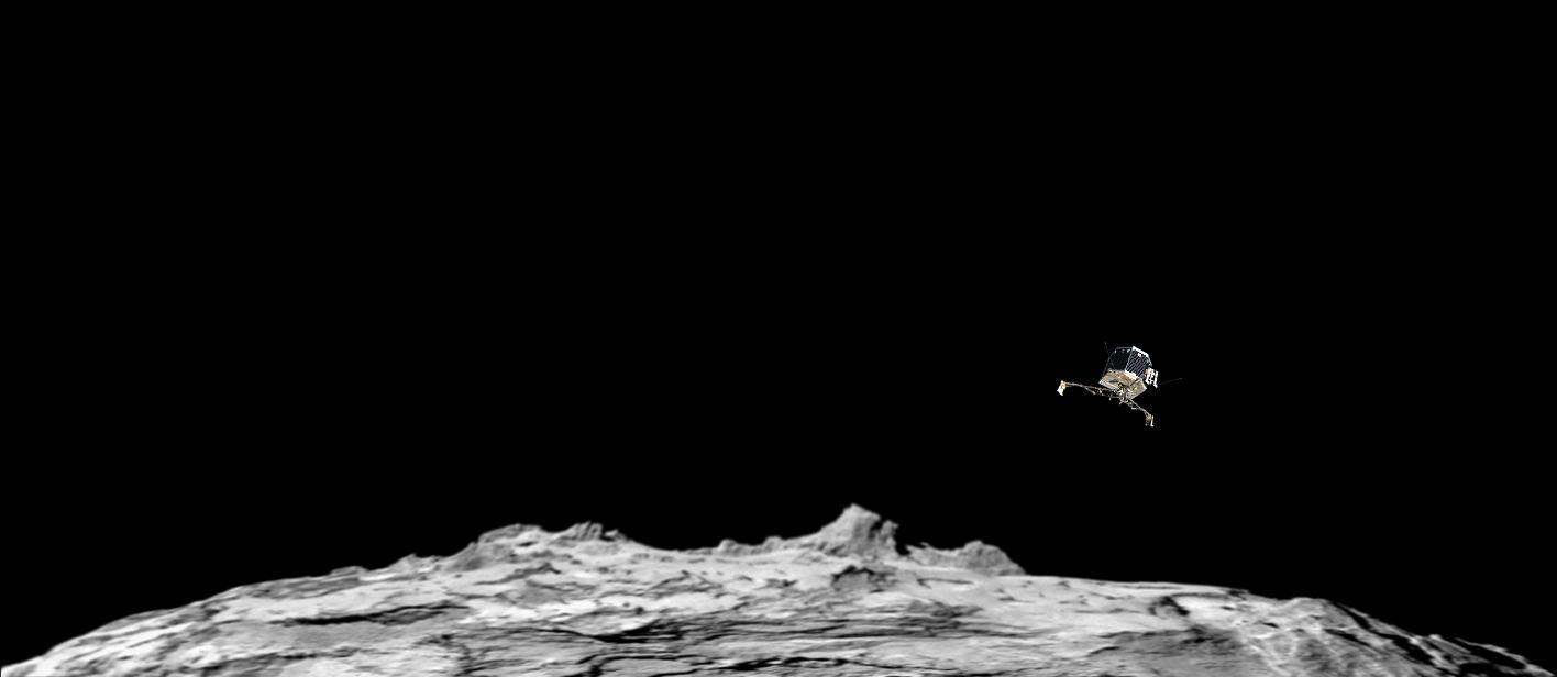 Зонд Philae опускается на поверхность кометы