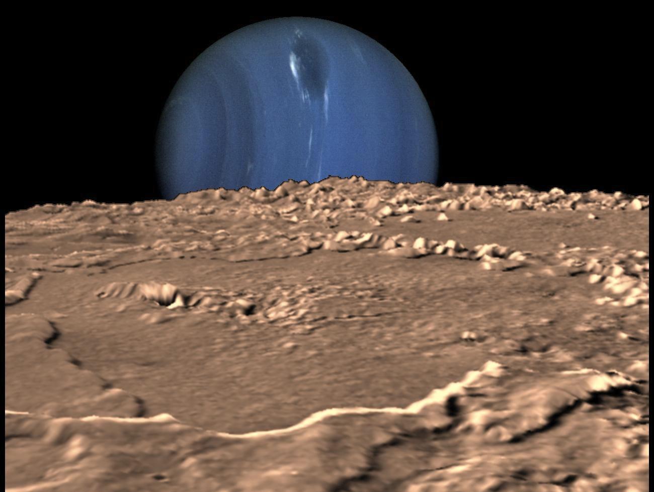 Нептун с поверхности Тритона в представлени художника
