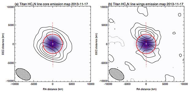 Распределения HC3N в атмосфере Титана