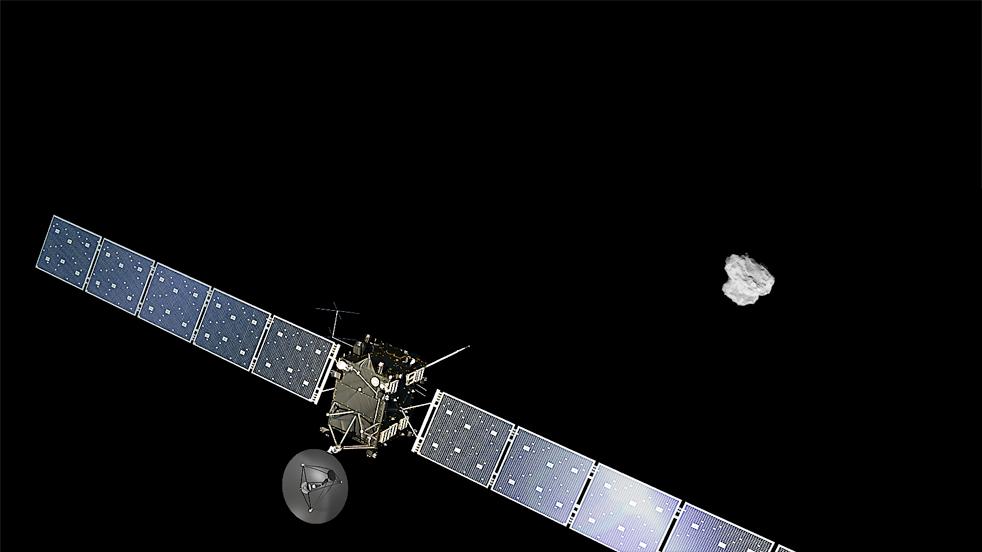 Зонд на фоне кометы (коллаж)