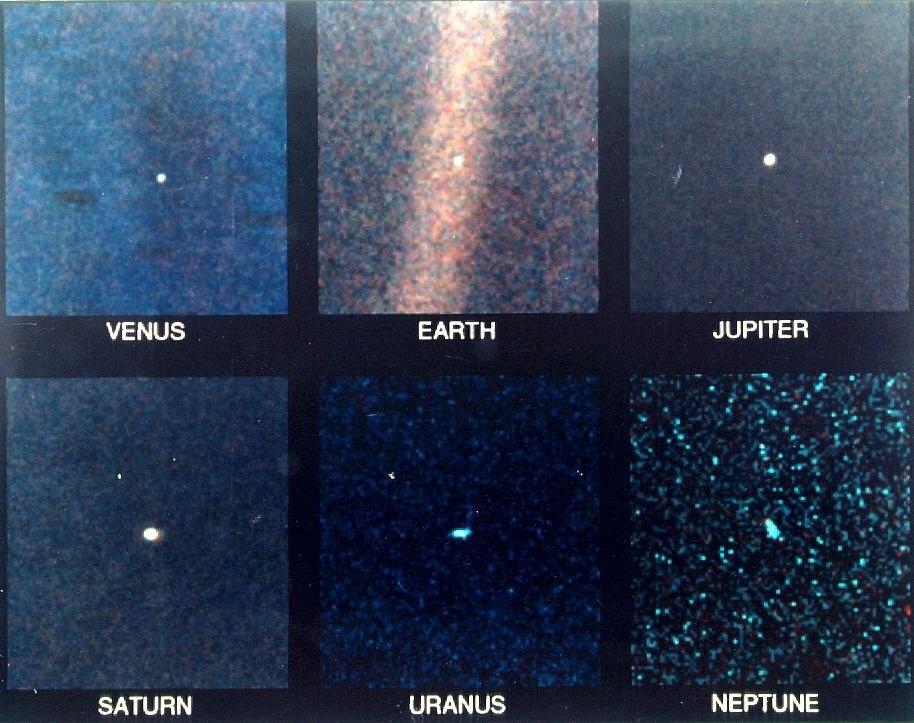 Вид на наши планеты с 6-ти миллиардов километров. Вояджер-1.
