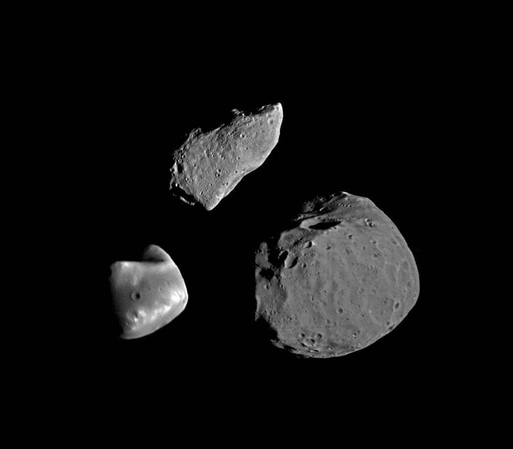 Астероид Гаспра, и спутники Марса Фобос и Деймос