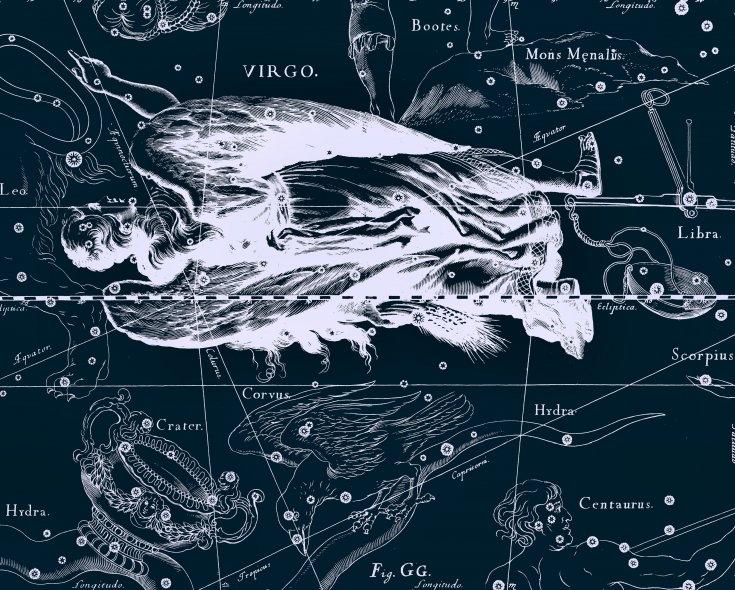 Дева, рисунок Яна Гевелия из его атласа созвездий